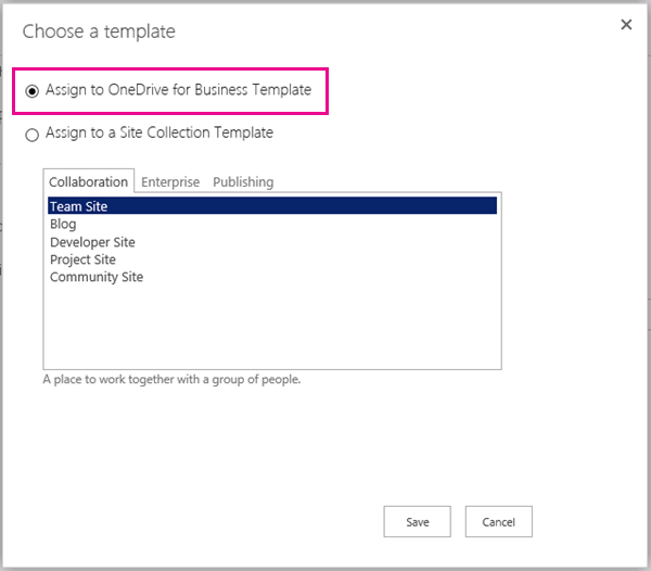Choose a template page showing OneDrive option