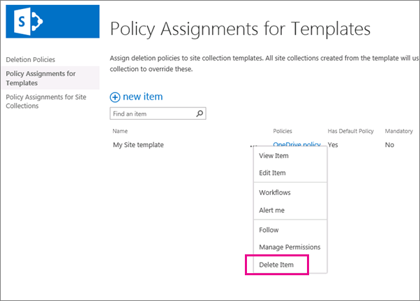 Delete Item command for policy assignment