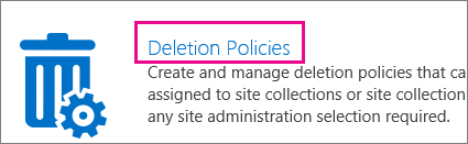 Deletion Policies option