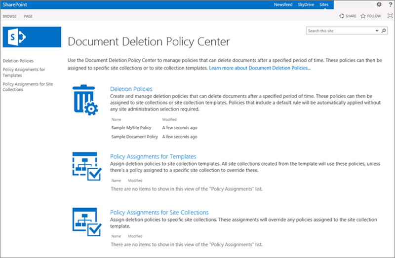 Create a document deletion policy office support home page of document deletion policy center maxwellsz