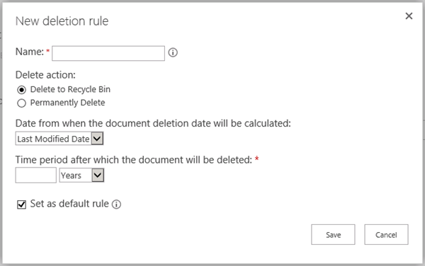 New deletion rule page