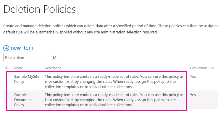 Sample document deletion policies