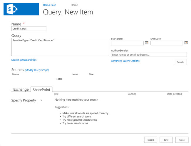 Create a new query page