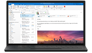 Outlook running on a computer