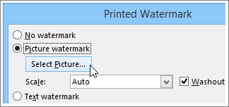 The printed watermark dialog box in Word