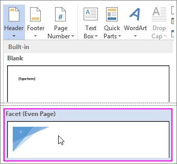 Add a different even numbered page in a Word header