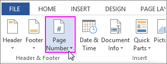 Insert a page number in a header in Word