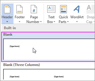 a blank header in Word