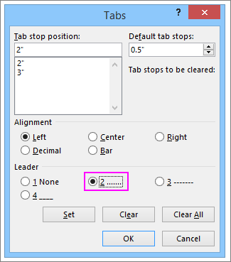 The Leader section in Word's Tab dialog box