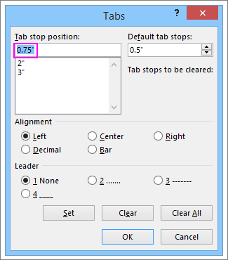 The Tab Stop dialog box in Word