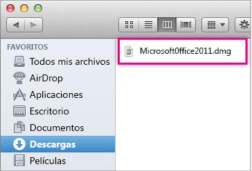 Seleccionar el archivo MicrosoftOffice2011.dmg