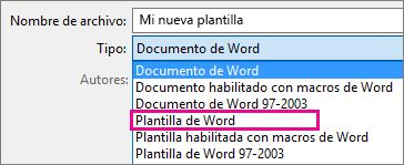 Guardar documento como plantilla