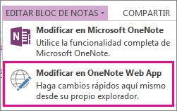 Editar un bloc de notas en OneNote Online