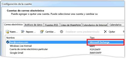 Ejemplo de una cuenta de Exchange en el cuadro de diálogo Configuración de la cuenta