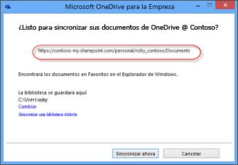 OneDrive antemano URL con el asistente para empresas