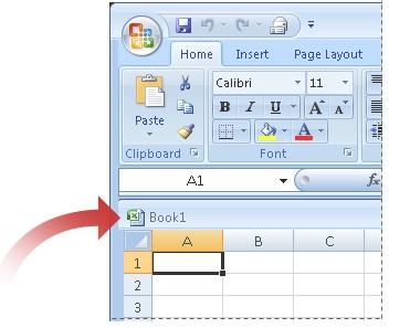 Flecha apuntando a la barra de título de la ventana del libro