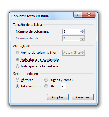 Cuadro Convertir texto en tabla
