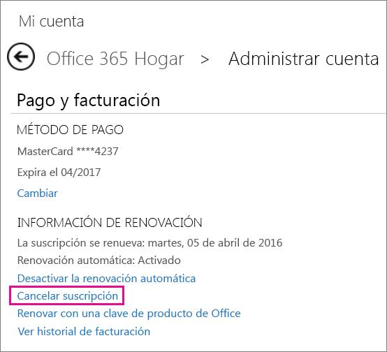 Cancelar la suscripción a Office