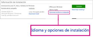 Opciones de idioma y de instalación
