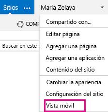 menú Configuración en un sitio de SharePoint en vista de pc