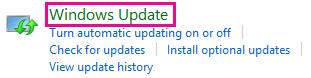 Vínculo a Windows Update de Windows 8 en el Panel de control