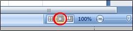 Botón Diseño de página en la barra de estado