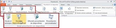 Ficha Presentación con diapositivas en PowerPoint 2010 mostrando el grupo Iniciar presentación con diapositivas.