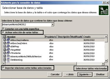 Casilla Activar selección de varias tablas