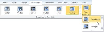 Opciones de efectos en el grupo Transición a esta diapositiva