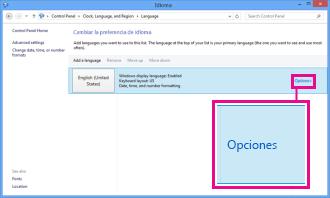 Agregar el método de entrada en el Panel de control de Windows 8