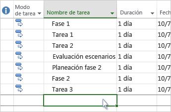 Una lista de tareas en el diagrama de Gantt.