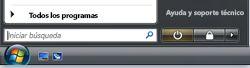 Botón Inicio de Windows Vista y el cuadro Buscar