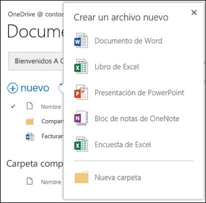 Opciones de Office Online que puede usar desde el botón Nuevo de OneDrive para la Empresa