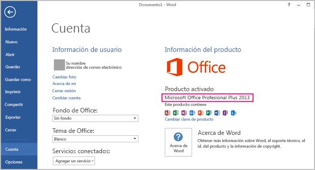 Ventana Archivo > Cuenta de Word 2013