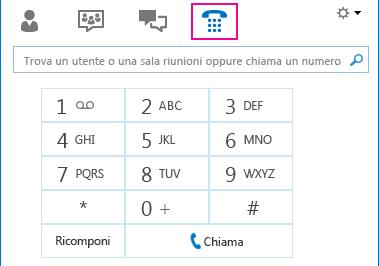 Captura de pantalla del icono Teléfono con un teclado de marcado que puede utilizarse para realizar llamadas