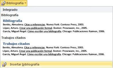 Haga clic en Insertar bibliografía
