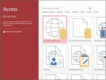 Pantalla de inicio de sesión de Access, que muestra el cuadro de búsqueda de plantilla y los botones Personalizar aplicación web y Base de datos del escritorio en blanco.