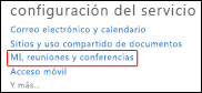 Panel de administración: Configuración del servicio, MI, reuniones y conferencias