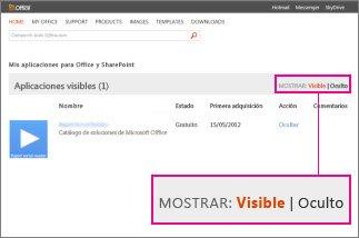 Mostrar aplicaciones visibles u ocultas para Office