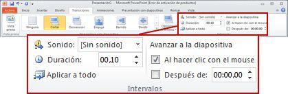 Grupo Intervalos en la ficha Transiciones en la cinta de PowerPoint2010.