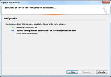 Cuadro de diálogo Agregar nueva cuenta que indica que se está configurando el servidor de correo electrónico