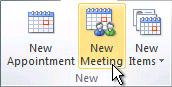 Comando Nueva reunión en la cinta de opciones