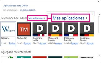 Haga clic en Más aplicaciones para examinar las aplicaciones de la tienda
