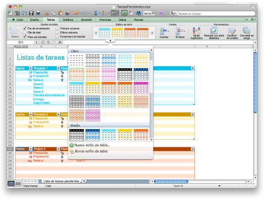 Libro de Excel que muestra las opciones de Estilos de tabla