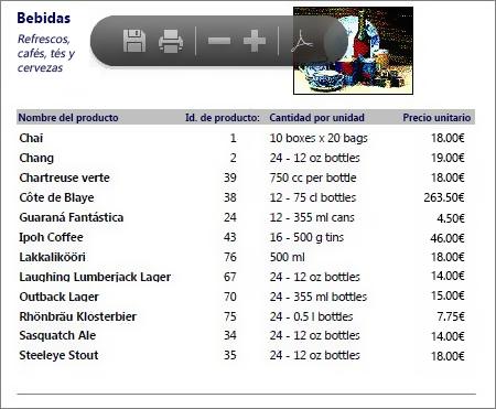 Archivo PDF insertado de un catálogo de productos abierto en un lector de PDF