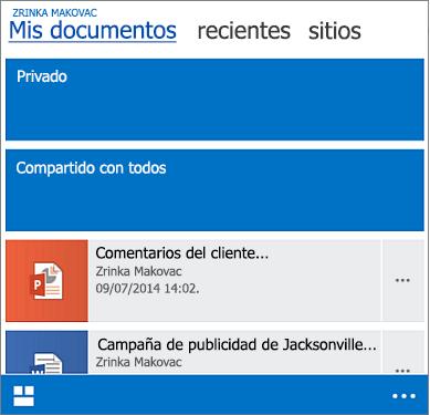 Vista móvil de biblioteca de documentos