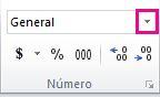 Cuadro Formato de número de la pestaña Inicio