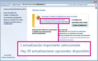 Vínculos del panel de Windows Update
