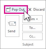 Botón Elemento emergente de respuesta en el panel de lectura