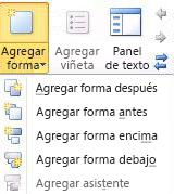Lista desplegable del botón Agregar forma